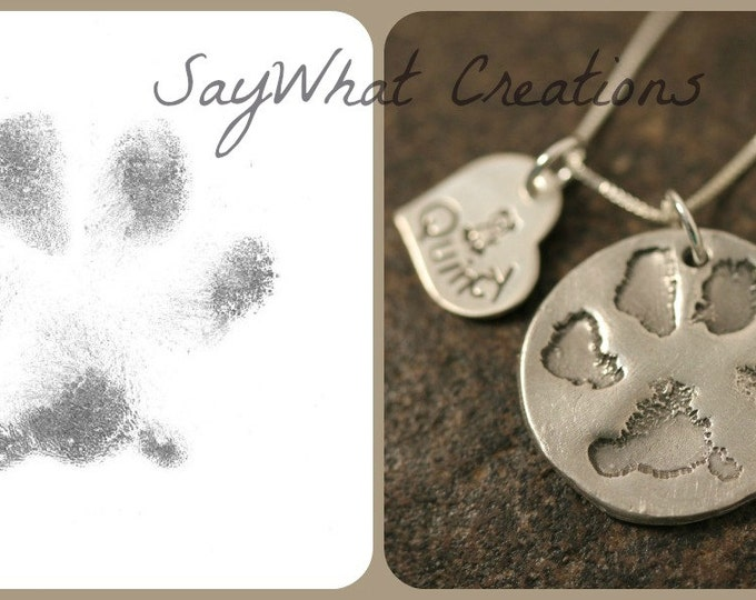 Dog or Cat Paw Necklace made from your Pet's Actual Paw Print