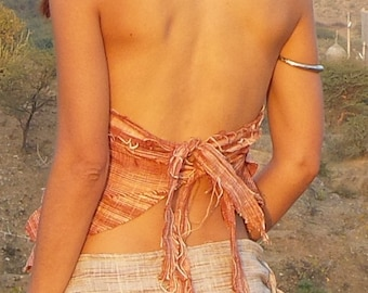 Khadi Top, Top made of Khadi, Fairy Top, handwoven Cotton, back free, tribal top, top of natural fabric, Party Top, Festival Top, Hippie Top