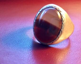 Vintage Sterling men's ring ...brown stone Statement Ring Size 10