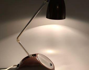 Retro Folding Desk Lamp Bullet Shape Brown Japan Vintage 60s 70s