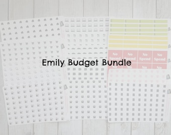 Planner Stickers|Emily Budget Bundle| 14 sheet bundle|Planners|Financial Planning|Monthly View|Icon Stickers|Budget Planning Stickers
