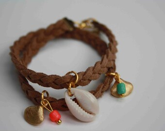 Shell and Tan braided suede bracelet