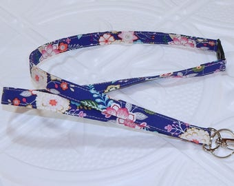 Blue Floral Breakaway Safety Lanyard - Badge Holder - Key Lanyard - Teachers Gifts - Cute Key Chain - Lanyard With Id Holder - Id Holder