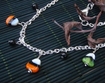 Green and Orange Candy Corn Halloween Necklace