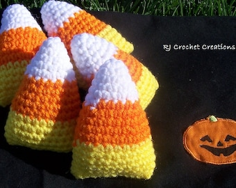 Crochet Candy Corn Amigurumi Halloween Crocheted Plush Toy