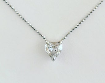 Love tooth and nail i choose you 14K white gold 1/2 carat heart diamond solitaire necklace choker ball chain