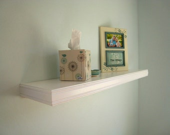 """Floating wall shelves, Semi gloss white 30""""x8""""(pictured), Double beaded decorative trim, Select Color, Length and depth,  4, 6 or 8-in deep"""