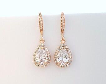 Rose Gold Bridal Earrings, Wedding Earrings, Bridesmaid Earrings, Bridal Teardrop Earrings, Wedding Bridal Jewelry, Emma