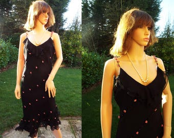 Unworn Bias cut beaded black chiffon silk dress 1930s style dress Silk 1930s Black Silk Evening dress Art Deco style Dress Silk maxi UK10