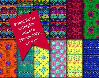 Boho Digital Papers, Bright Boho Digital Scrapbook Backgrounds, Digital Download Patterns, Digital Papers, Digital Scrapbooking, Digitals