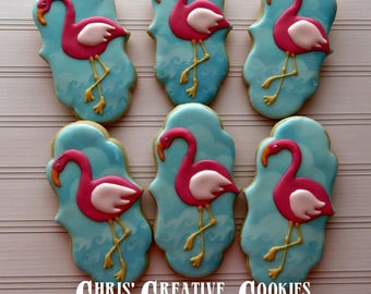 Pink Flamingo cookies! One dozen (12) Custom Decorated cookies