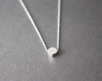 Tiny Hexagon necklace -  Hexagon necklace - Gemetric necklace - Silver