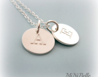 """Two Initial Charms Necklace. Personalized Letter Necklace. Monogram Necklace. Mom Initial Necklace. 1/2"""" Initial Necklace"""