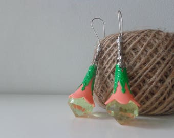 Yellow green earrings, long filigree cone earrings