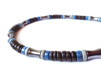 Men's jewelry - tribal necklace in wood, hematite and lapis lazuli - Blues Song