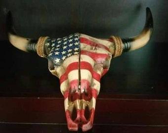 American flag cattle skull