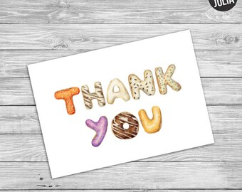 Doughnut / Donut Thank You Card / Donut Print / Printable / Instant Download