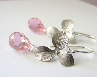 Pink Cubic Zirconia and Silver Orchid Dangle Earrings, Delicate Flower Bridesmaid Earrings