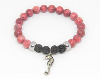 Essential Oil Bracelet-Coral Bracelet-Coral and Lava Bead Bracelet