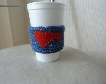 ON SALE Cup cozy/Knitted Cup Cozy/ Coffee Cup Cozy with Hearts/ Blue Cozy /Knit Cup Cozy