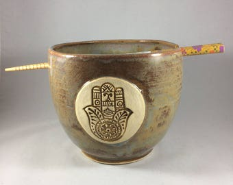 Ceramic Noodle Bowl with Hamsa Hand in Rustic Lustre