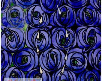 Art Nouveau Rennie Mackintosh Teardrop Blue Rose Flower design square placemat table mat server