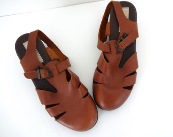 Vintage FISHERMAN Sandals • 1990s Shoes • Women Size 7.5 8 Cut Out Brown Leather Wedge Sandals 90s Chunky Block Heel Mule Ankle Buckle Strap