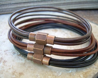Thin Strands Leather Bracelet with Copper toned Brass Magnetic Clasp, Mens Jewelry, Mens Bracelet, Leather Bracelet, Boyfriends Gift, Mens