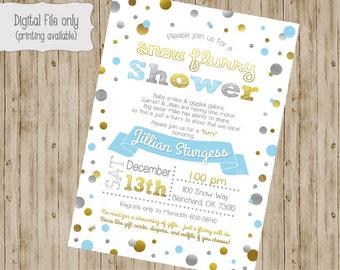 Baby Sprinkle Invitation, Snow Sprinkle Invitation, Sprinkle Baby Shower Invitation, Sprinkle Shower, Flurry, Confetti  invitation