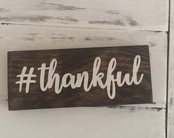 Thankful Hashtag Wood Sign Decor Wood Sign Gift Under 10 Gift Idea Room Decor Gift Idea Inspirational Wooden Blocks Thankful Fall Decor