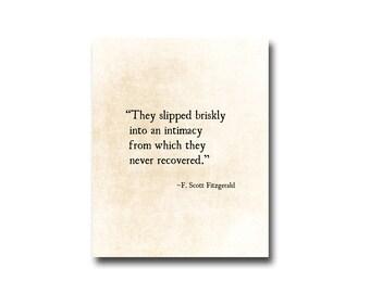 F. Scott Fitzgerald Love Quote, Romantic Quote, Inspirational Quote, Anniversary Print, Literary Quote, Fine Art Print