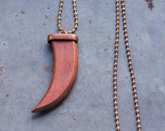 Horn or Canine Tooth Pendant - Wooden Fang Necklace on Long copper Ball Chain - Boho Jewelry