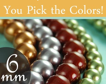 Swarovski pearl beads assorted diy kit 6mm round pearls, You pick the colors Style 5810 (50-500)