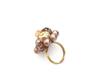 Vintage Mid-Century Modern Copper Gold Bronze Beaded Cocktail Statement Ring