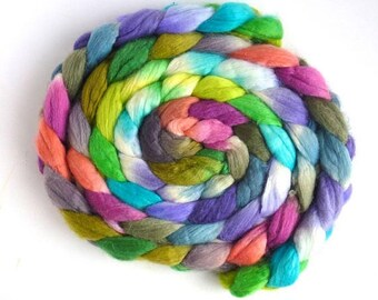Everything's Easy, Merino/ Superwash Merino/ Silk Roving - Handpainted Spinning or Felting Fiber