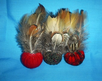 3  Recycled, felted wool and  feathers. CAT TOYS with catnip
