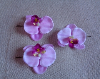 Orchid Hair Clip, Orchid Accessory, Bridesmaids Accessories set of- 3 pink Orchid Hair Clip,