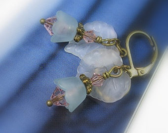 Leaf and Flower Earrings, Soft Pastel Pink and Blue Earrings, Swarovski Crystal, Woodland, Antiqued Brass, Gifts for Gardeners, Boho Chic