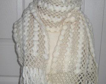 hand crochet scarf . cream and gold scar . crochet scarf . crochet wool scarf . lace wool scarf . retro crochet scarf