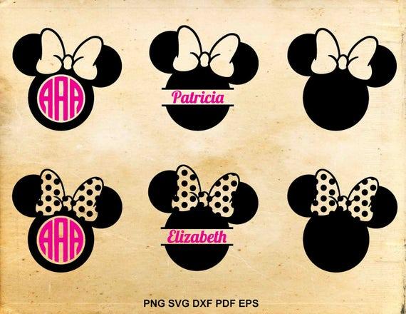 Minnie mouse svg Monogram frame Split monogram Disney