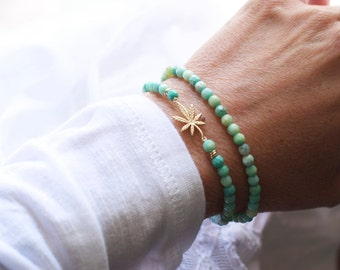 Double wrap weed bracelet with green agate  -  420 double bracelet - leaf green bracelet - weed gemstone bracelet -