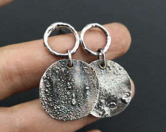 Rustic silver earrings  Sterling silver and Brass- Industrial- Modern Design  Rustic jewelry Hoop Circle earrings Everyday jewelry For her