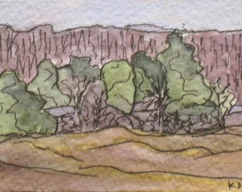 "Maine ACEO Landscape Painting Small Original Plein Air Watercolor Pen and Ink ""Gilsland Audubon Farm"" Plein Air Aceo Art Artist Trading Card"