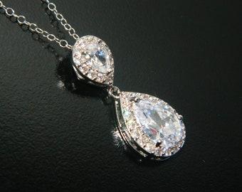 Cubic Zirconia Bridal Necklace, Teardrop Crystal Necklace, Wedding Clear CZ Silver Necklace, Bridal Sparkly Crystal Pendant Prom CZ Necklace