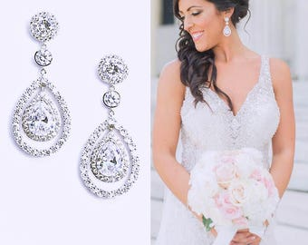 Pear Drop Bridal Earrings Cubic Zirconia Best Bridal Pear Drop Earrings