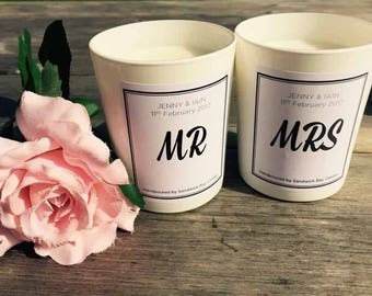 Mr and Mrs personalised soy candles - bespoke gifts for bride and groom
