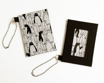 ID Badge Holder / Metro Card Holder - Black Penguin