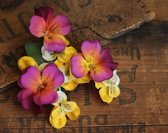 """Spring Flower Hair Clip, Pansy Fascinator, Pink Floral Headband, Yellow Pansies Headpiece, Womens Hair 1950s Vintage - """"Spring's Sweetheart"""""""