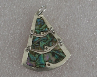 """Jewelry Rescue Vintage Sterling Silver Abalone Inlay Pendant 35mm"""""""