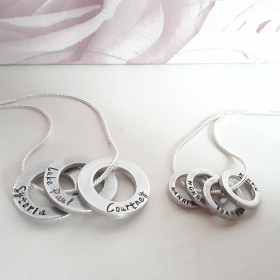 Name necklace, handstamped custom personalised childrens name family pendants